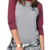Obey Worldwide Family 2 Grey & Burgundy Baseball Tee