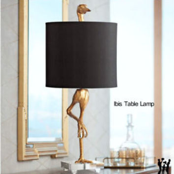 "Ibis Table Lamp Black & Gold 05206 Horchow Heron Crane Bird 35""H by Cyan Design"
