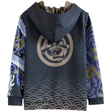 [STOCK]Game OW Hanzo Reaper Full Color Printed Fleece Pullover Top Cosplay Hoodie Jacket NEW 2018 free ship