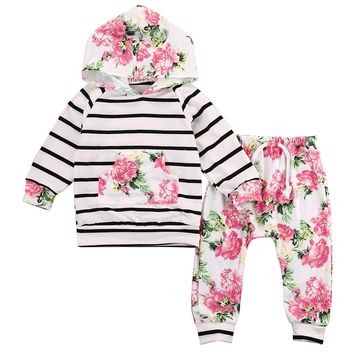 Floral Baby Top +Pants Outfits 2PCS Hooded Clothes Set