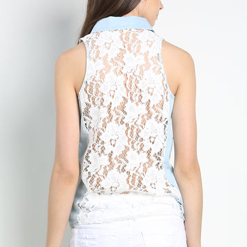 Back Lace Denim Shirt