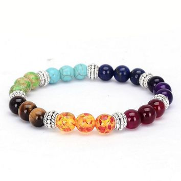 Fashion Jewelry 7 Chakra Healing Crystals Stone Prayer Mala Bracelet