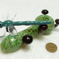 Dragonfly and Mushroom Pipe - medium/large spoon pipe with attached glass creatures
