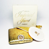 Avon Imperial Jewel Powder Compact - Brushed Gold tone & Rhinestone Clasp vintage 1960's-1980's
