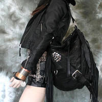 Black fringe studded hobo bag bohemian rocker purse raw edges sweetsmokebags free people goth rocknroll gothic rockstyle rock star metal
