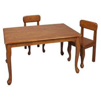 Gift Mark 3001H Rectangle Queen Anne Table and Two Chair Set - Honey