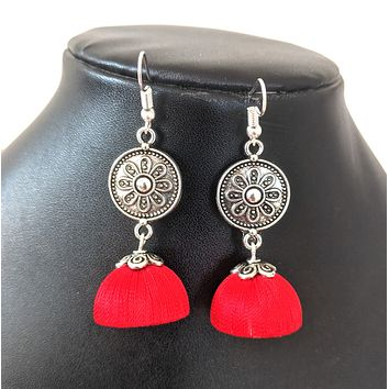 Silk Thread antique silver coin center hook drop jhumka Earring