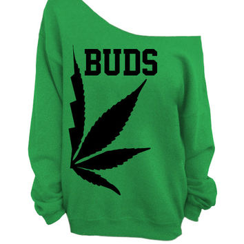 Best Buds - Green Slouchy Oversized CREW - BUDS