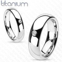 6mm Round Solitaire CZ Centered Dome Band Men's Ring Solid Titanium