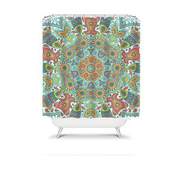 AZTEC Tribal Shower Curtain Mandala Colorful Monogram Flower Circle Floral Pattern Bathroom Bath Polyester Made in the USA