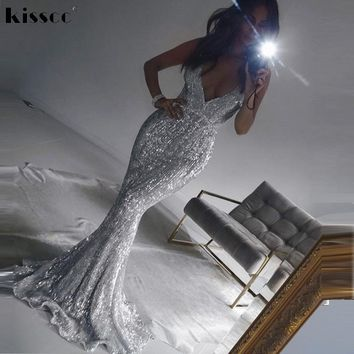 Sexy Stretch Silver Sequin Maxi Dress Hollow Out Floor Length Summer Padded V Neck Backless Mermaid Dress