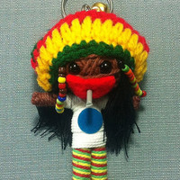 Rasta Bob Marley Reggae Keyring Keychain movie cartoon Key Ring Key Chain handmade funny Bag Car string doll