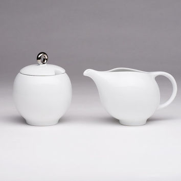EVA sugar bowl and milk pitcher set - White Porcelain
