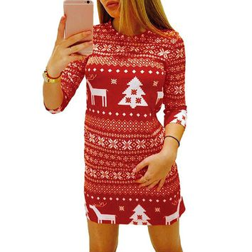 Women Autumn Winter Dress Print Christmas Reindeer Tree Snowflake Casual Xmas Mini Party Dresses Female Red/black designer clothes