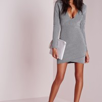 Missguided - Lurex Wrap Over Bodycon Dress Silver