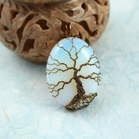 Opalite Tree of Life brass wire-wrapped pendant