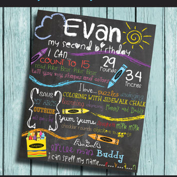 Crayon Birthday Chalkboard First Birthday Decorations Birthday Sign Rainbow Drawing Crayola Sunshine Second Birthday Red Blue Purple Yellow