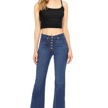 Frayed High Waist Bell Bottoms