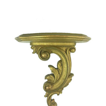 Vintage Gold Distressed Syroco Wall Shelf, Home Office Decor, Ornate Wall Hanging, Display, Regency Scroll Filigree Feather, Gold Home Decor