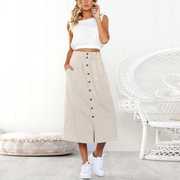 Womens Daily Summer Bohemia High Waist Line Button  Beach Wrap  Maxi Long Skirt