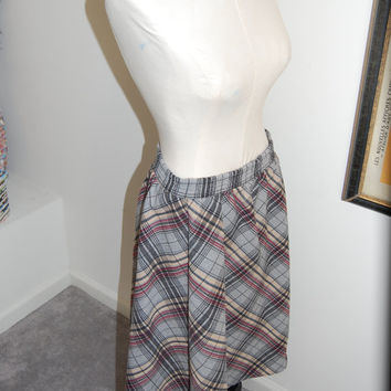 1950's Rockabilly Plaid Skirt by Frank Lee Company / Black  Red and Grey / Womens Size Medium