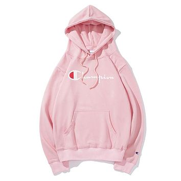 Champion women's and men's classic embroidered print logo hoodie F-CP-ZDL-YXC Pink
