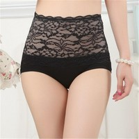 High Waist Panties Briefs Women Lace  Panties Underwear Antibacterial Breathable Bamboo Fiber High-Rise Women Underwear