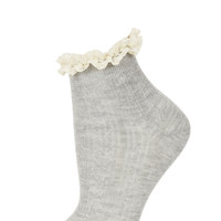 Grey Cream Lace Trim Socks - Tights & Socks - Clothing - Topshop USA