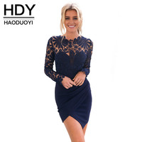 HDY Sexy Lace Long Sleeve Above Knee Mini Bodycon Dress