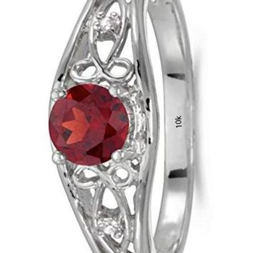 CERTIFIED 0.50 ct 10k White Gold Birthstone Solitaire Round Gemstone & Diamond Ring