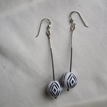Geometric 60's Earrings in Black and White