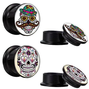 BodyJ4You Screw Fit Plugs Sugar Skull Kit 6G-14mm (4PC)