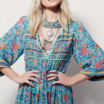 Free People Fashion Retro Tassel Irregular Multicolor Floral Print V-Neck Middle Sleeve Maxi Dress-1