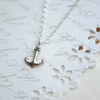Summer Necklace-- Anchor Necklace  Itsy Bitsy SILVER anchor necklace