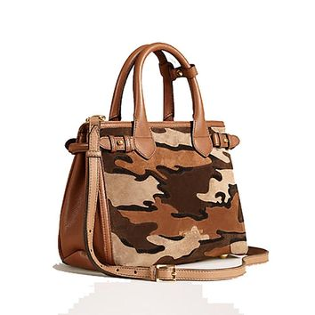Tote Bag Handbag Authentic Burberry The Small Banner in Camouflage Suede Tan Item 39906841 Made in Italy
