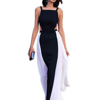 Elegant Sleeveless Side Pleated Gown