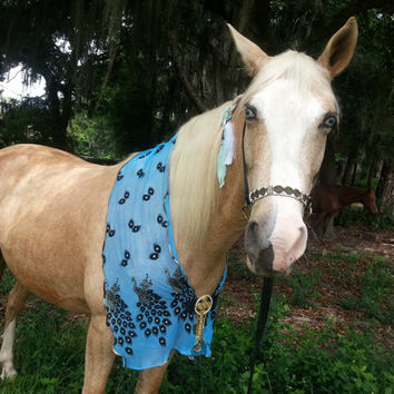 Peacock Shrug for Horse - Blue and Gold Breast Collar - Turquoise Horse Necklace - Horse Costume