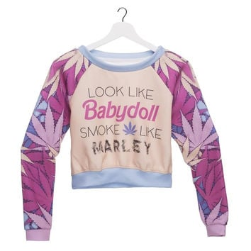 Fashion Women's Clothing Weed Babydoll 3D Printed Hoodies Pullover Crop Top Sexy