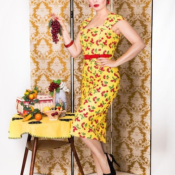 Chloe Wiggle Dress in Yellow with Cherry print