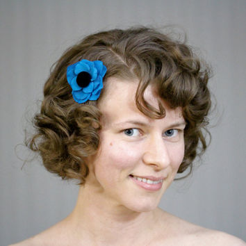 "Cobalt Blue Hair Flower, Peacock Blue Fascinator, Black Velvet Hair Accessory, Small Hair Flower Clip, Eco Hair Accessory - ""Icy Kisses"""