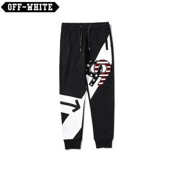 OFF-WHITE New 99 Sequins Embroidered Colorblocked Cotton Pants Black