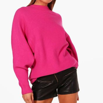 Sian Oversized Batwing Soft Knit Jumper | Boohoo