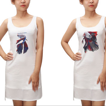 Women Colorful fish Printed Fit Sporty Tank Tunic Hi-low Dress WDS_13