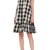 Organza Strap Gingham Dress with Ruffled Hem