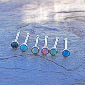 6 Opal Nose Ring Fire Opal Nose Bone Nose Piercing