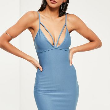 Missguided - Blue Strappy Scuba Bust Cup Bodycon Dress
