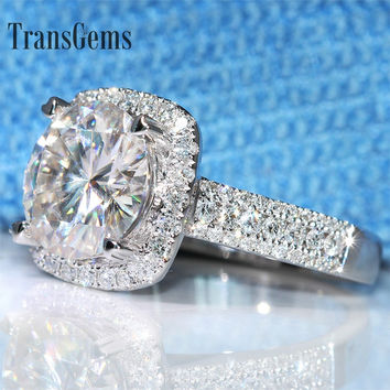 Transgems 5 Carat ct Engagement Wedding Moissanite Diamond Ring With Real Diamond Accents Genuine 14K 585 White Gold