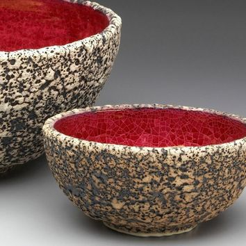 Large Red Textured Wheel thrown Ceramic Geode by blueroompottery