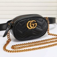 Gucci Fashionable Women Leather Metal Chain Crossbody Satchel Waist Bag Black I/A