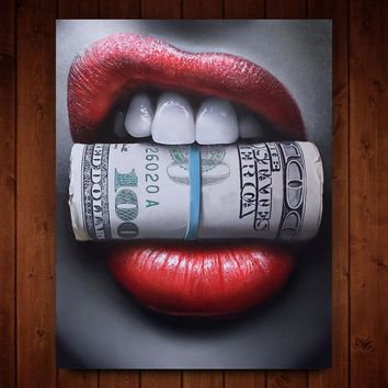 WANGART Red Lips with Money Quote Poster Print Wall Art Oil Painting  on Canvas Picture Living Room Bar Idea Creative Home Decor